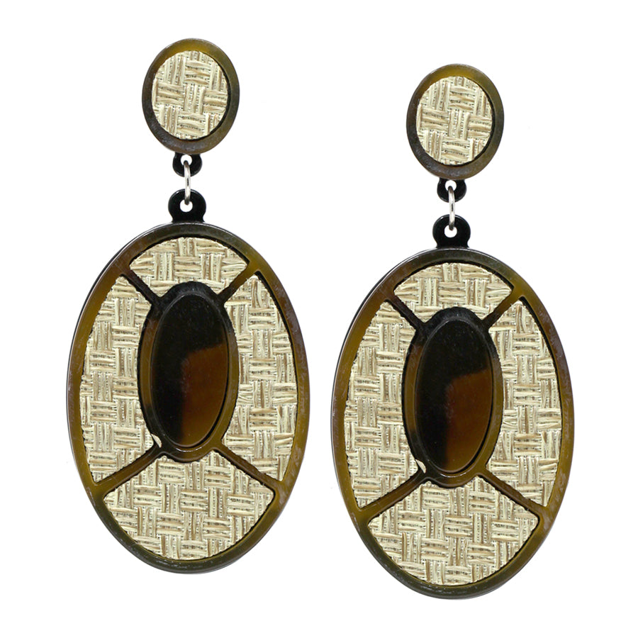 Oval Shape Acetate With Basket Weave Texture Drop Earrings
