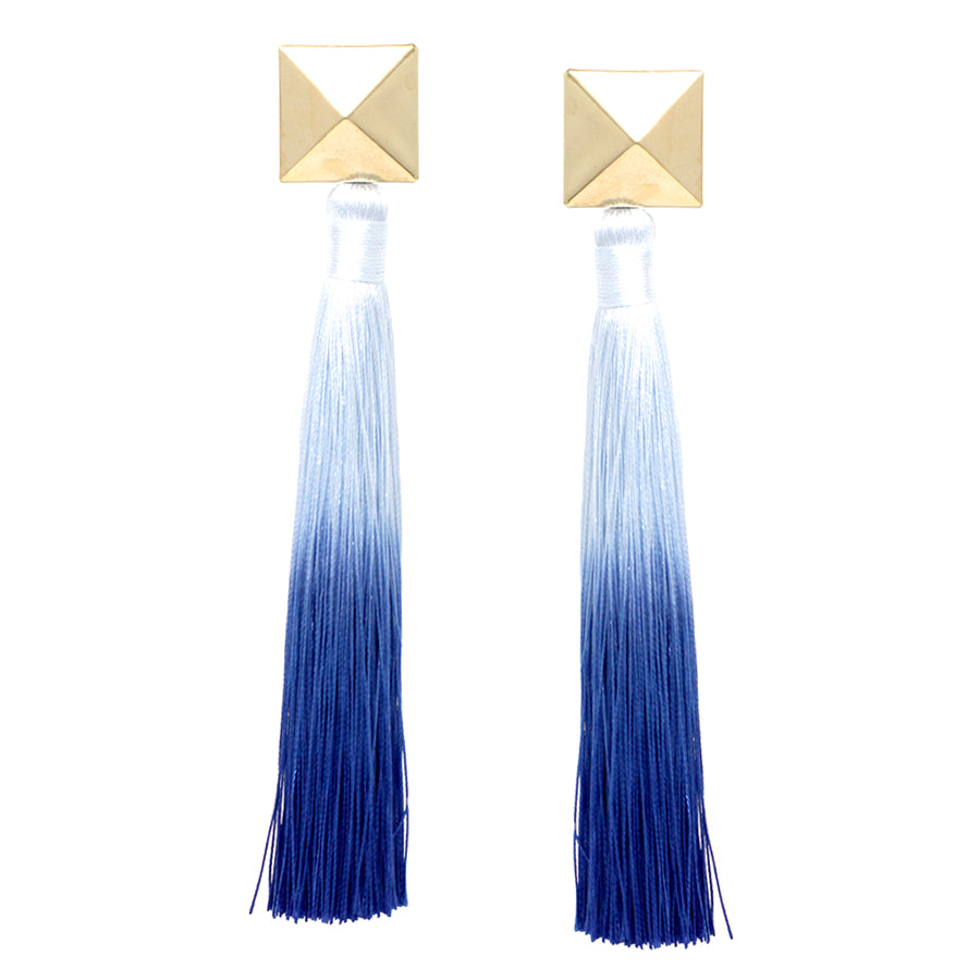 Pyramid Top With Gradient Color Long Tassel Earrings