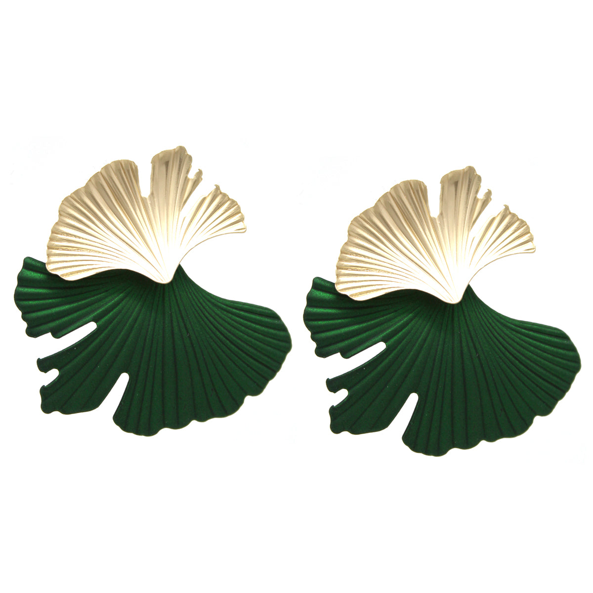 Matte Color Coated Leaf Layer Drop Earrings