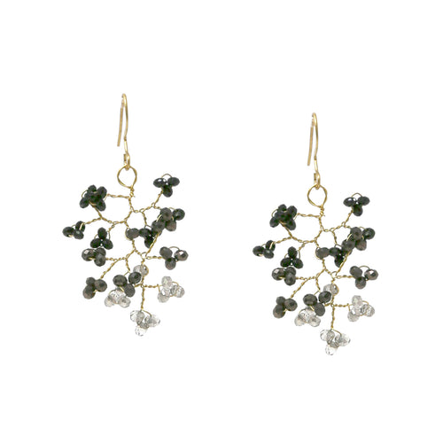 Ombre Glass Beaded Vine Leaf Drop Earrings