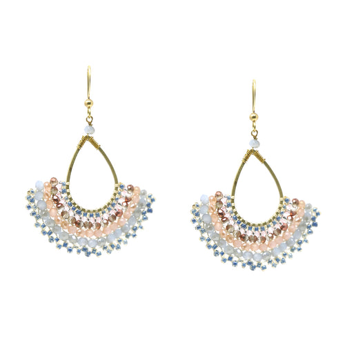 Fan Shape Glass Beaded Drop Earrings