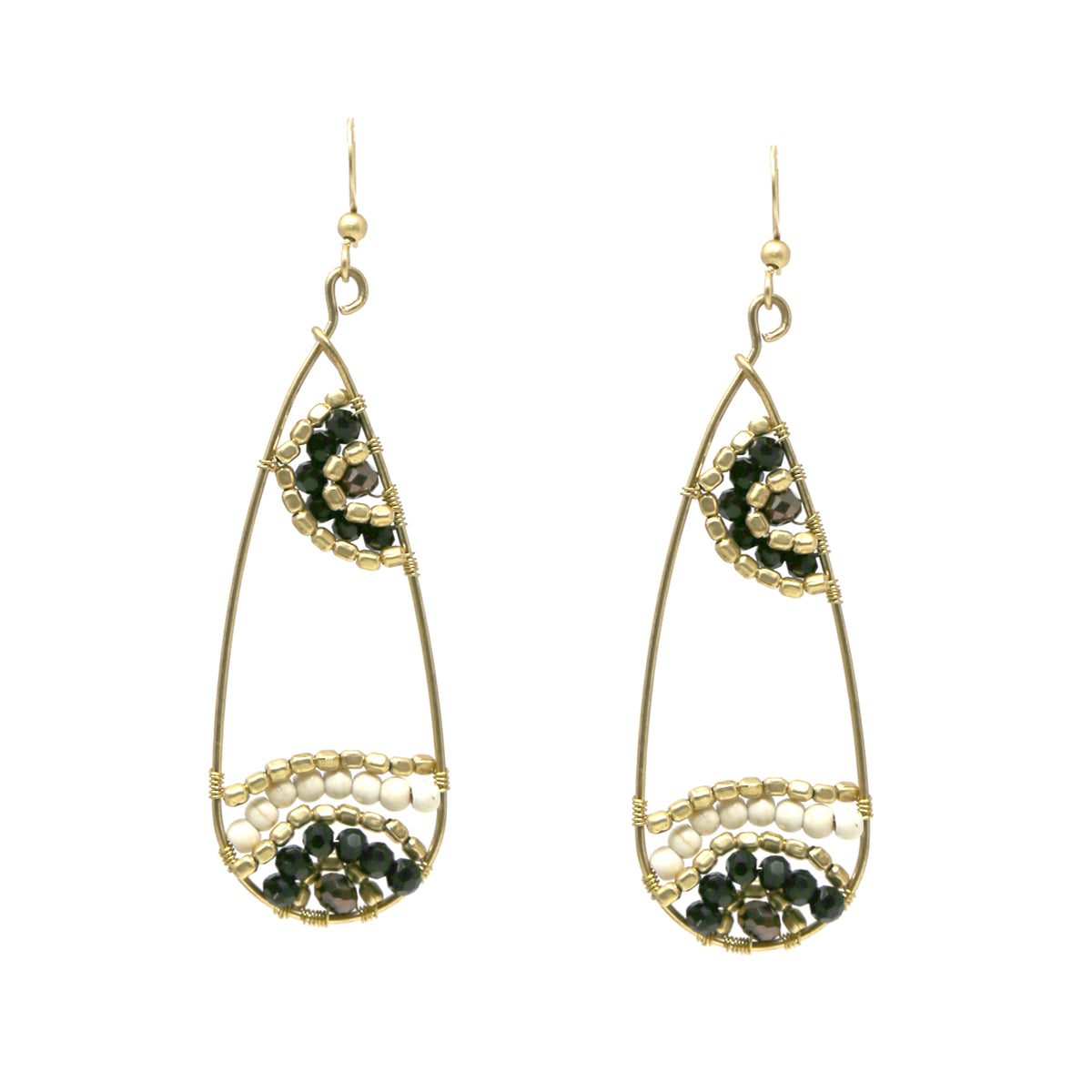 Glass Beaded Pattern Teardrop Earrings