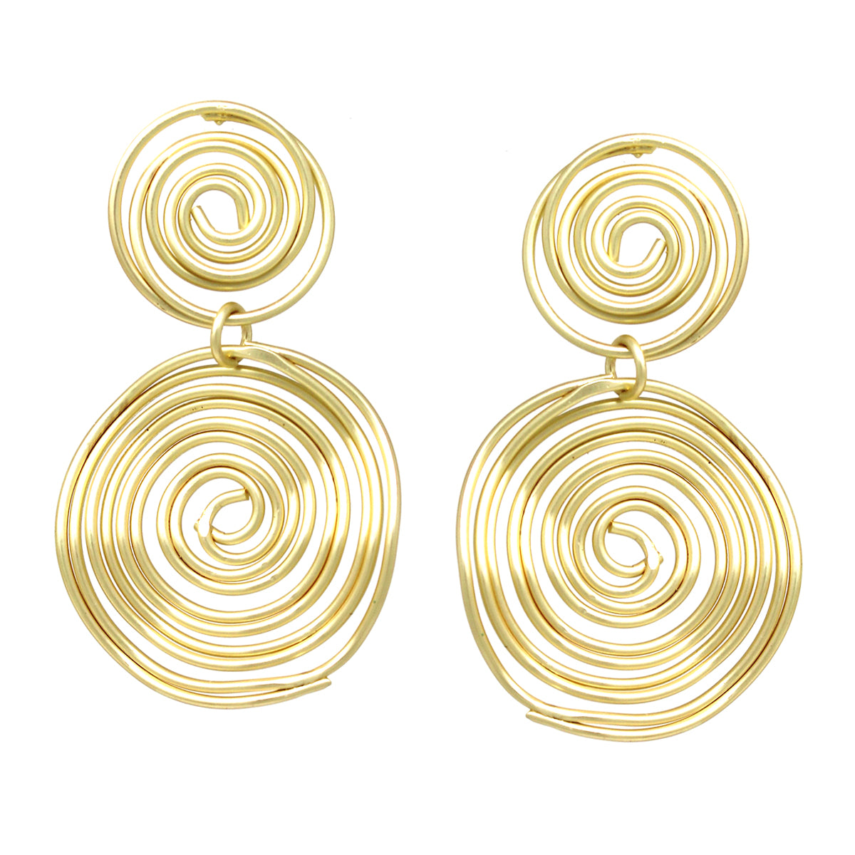Coiled Wire Disc Double Drop Earrings