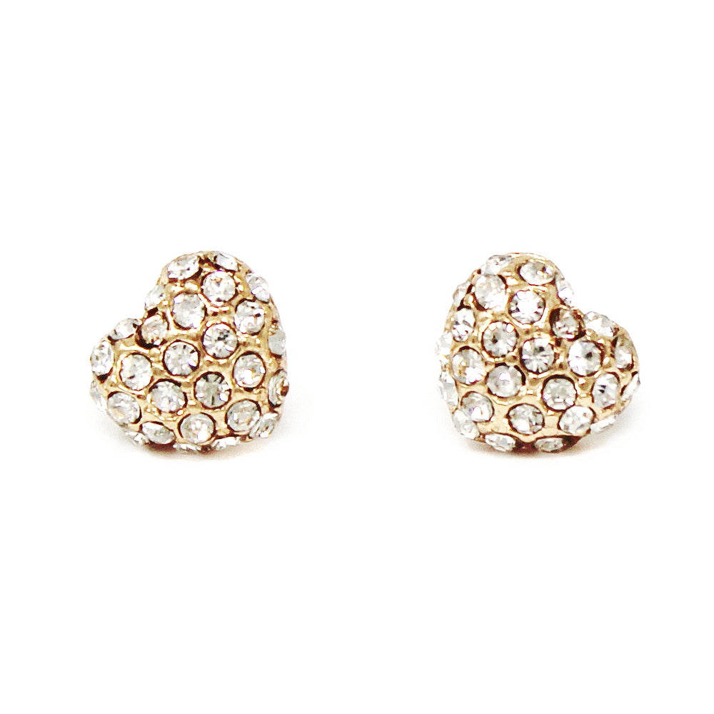 Glass Stone Pave Heart Shape Stud Earrings
