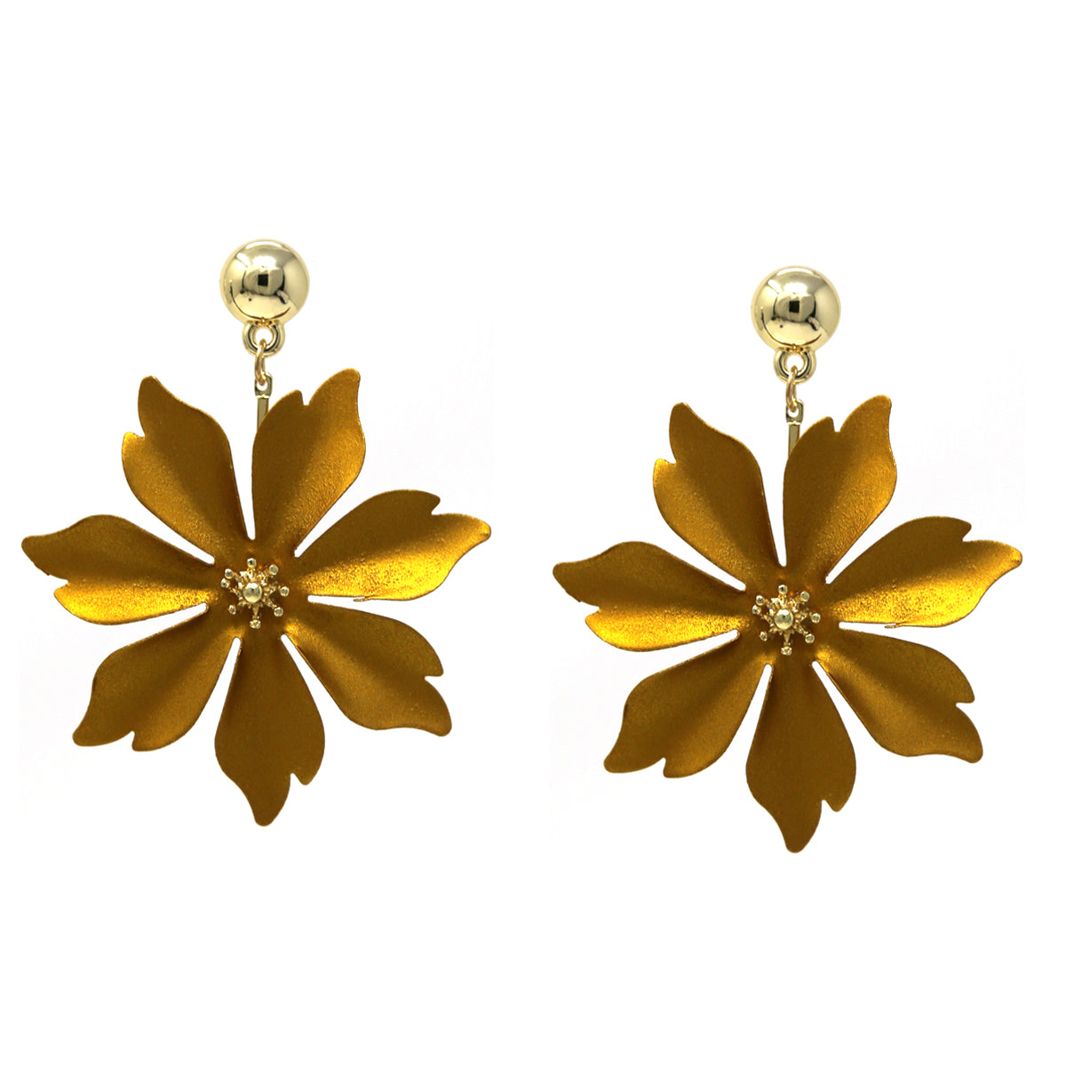 Matte Color Coated Metal Flower Drop Earrings