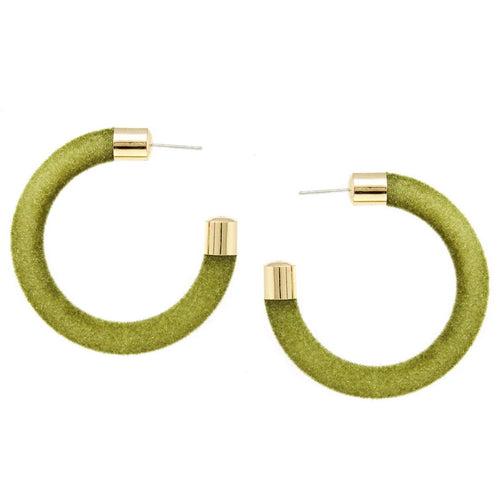 Metal Tip Velvet Fabric Wrapped Hoop Earrings