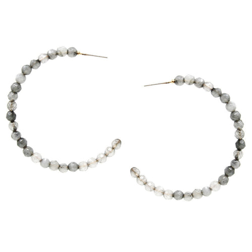 Natural Stone Beaded Hoop Earrings