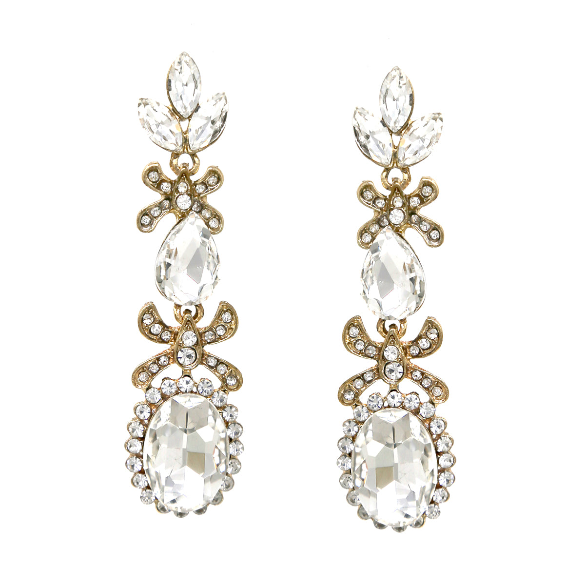 Glass Stone Cluster Drop Earrings