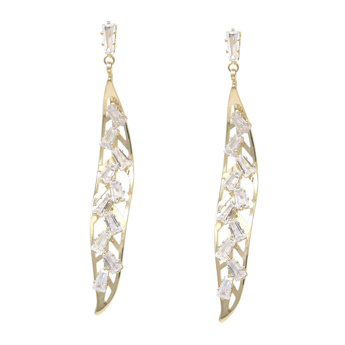 Cubic Zirconia Pave Curved Leaf Drop Earrings