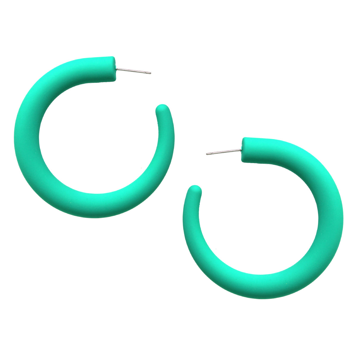 Rubber Coated Hoop Earrings (50 mm)