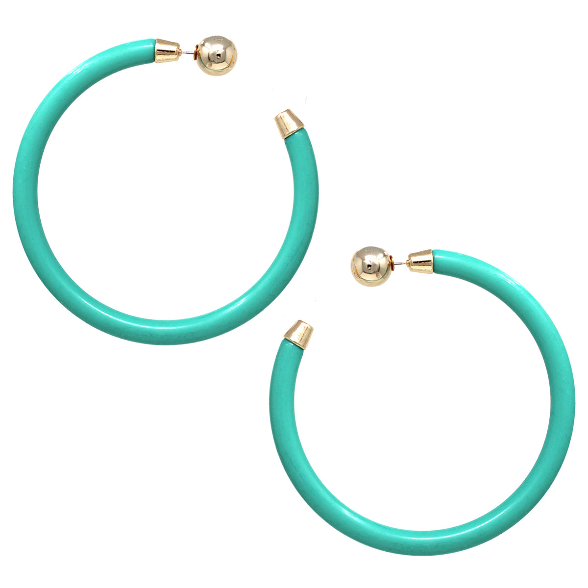 Color Acetate Metal Ball Double Sided Hoop Earrings (85 mm)