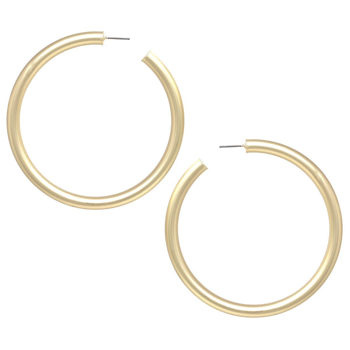 Hollow Metal Pipe Hoop Earrings (80 mm)