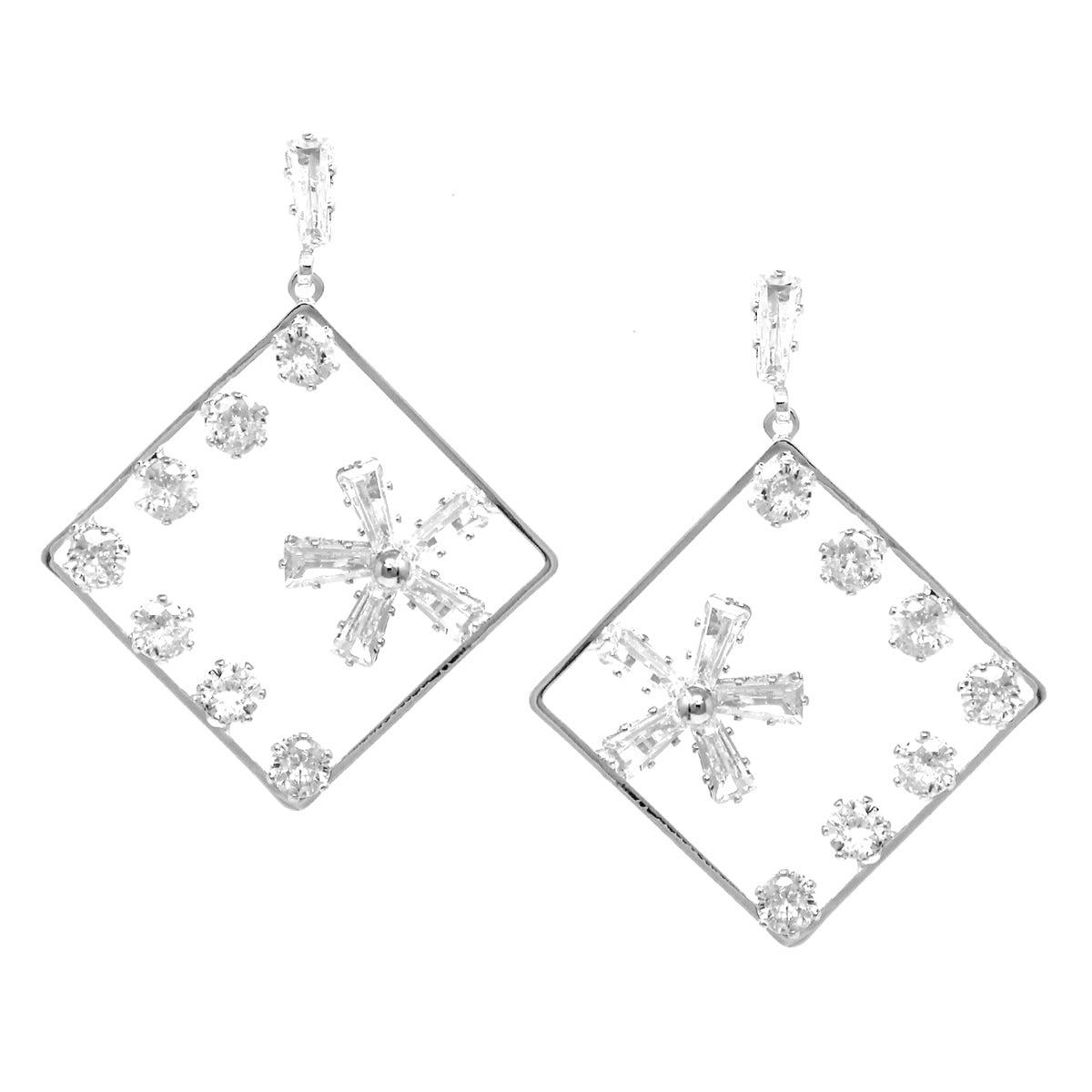 Cubic Zirconia Embellished Rhombus Frame Drop Earrings