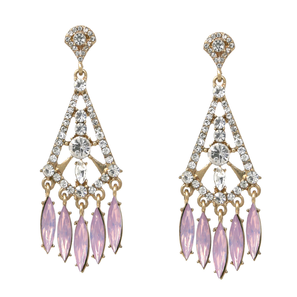 Glass Stone Pave Marquise Fringe Drop Earrings