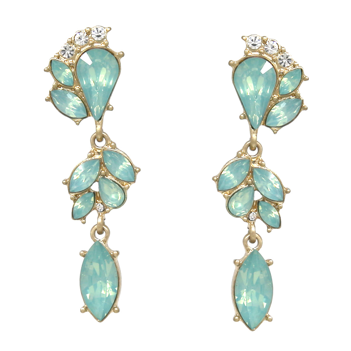 Faceted Stone Pave Floral Drop Earrings