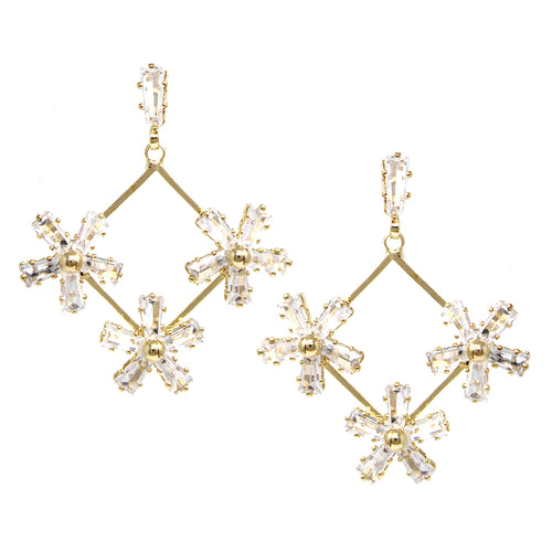 Cubic Zirconia Pave Flower Drop Earrings