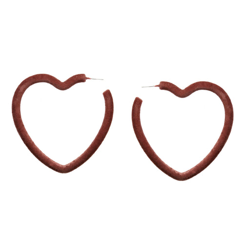 Velvet Fabric Covered Heart Hoop Earrings