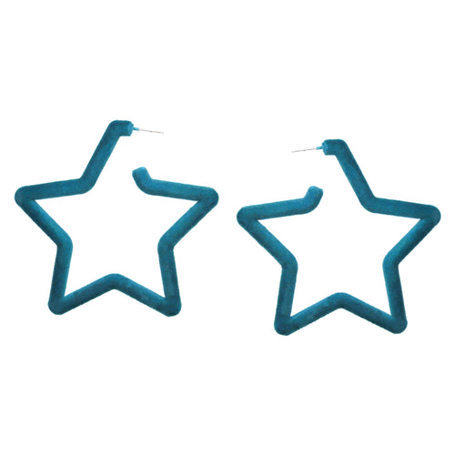 Velvet Fabric Covered Star Hoop Earrings