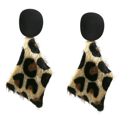 Animal Print Faux Leather Drop Earrings