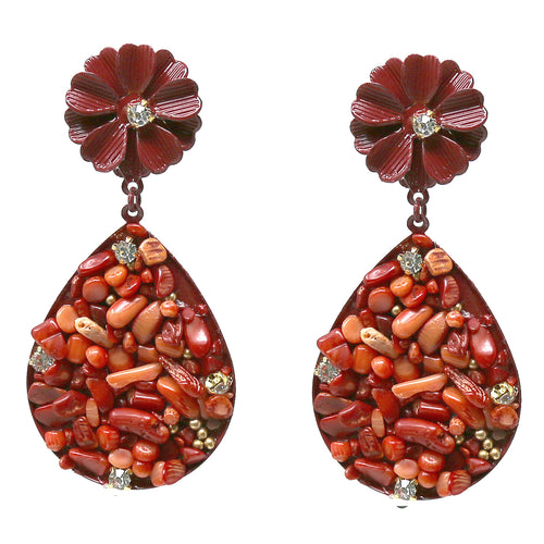Color Coated Flower Natural Stone Filled Teardrop Earrings
