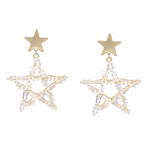 Cubic Zirconia Pave Star Drop Earrings