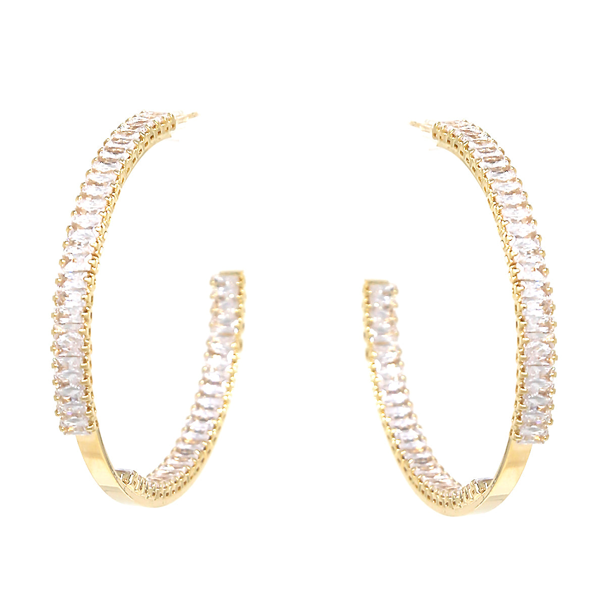 Emerald Cut CZ Pave Inside-Out Hoop Earrings (50 mm)