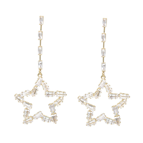 Cubic Zirconia Pave Long Drop Earrings