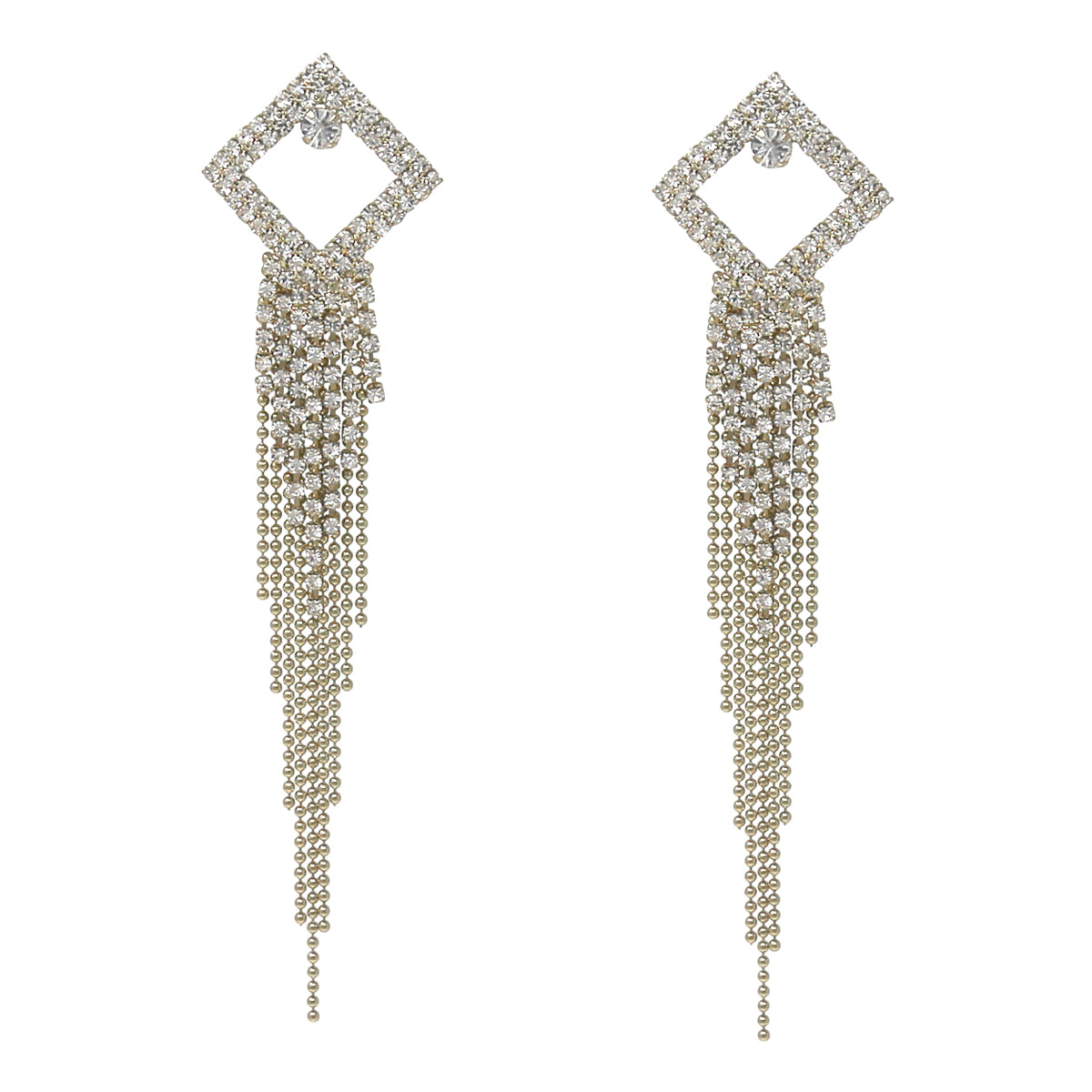 Rhinestone Pave Square Ball Chain Fringe Drop Earrings