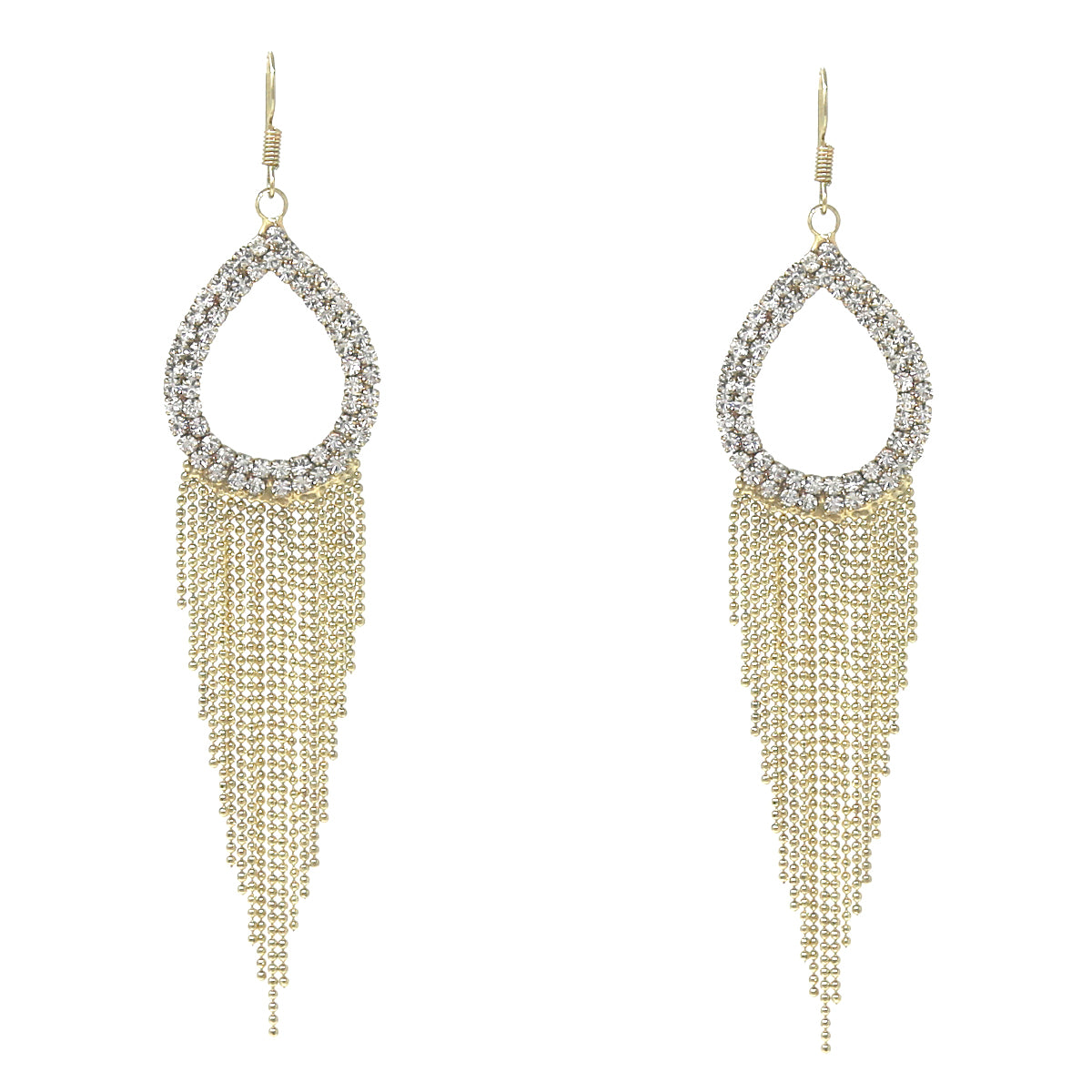 Rhinestone Pave Teardrop Ball Chain Fringe Drop Earrings