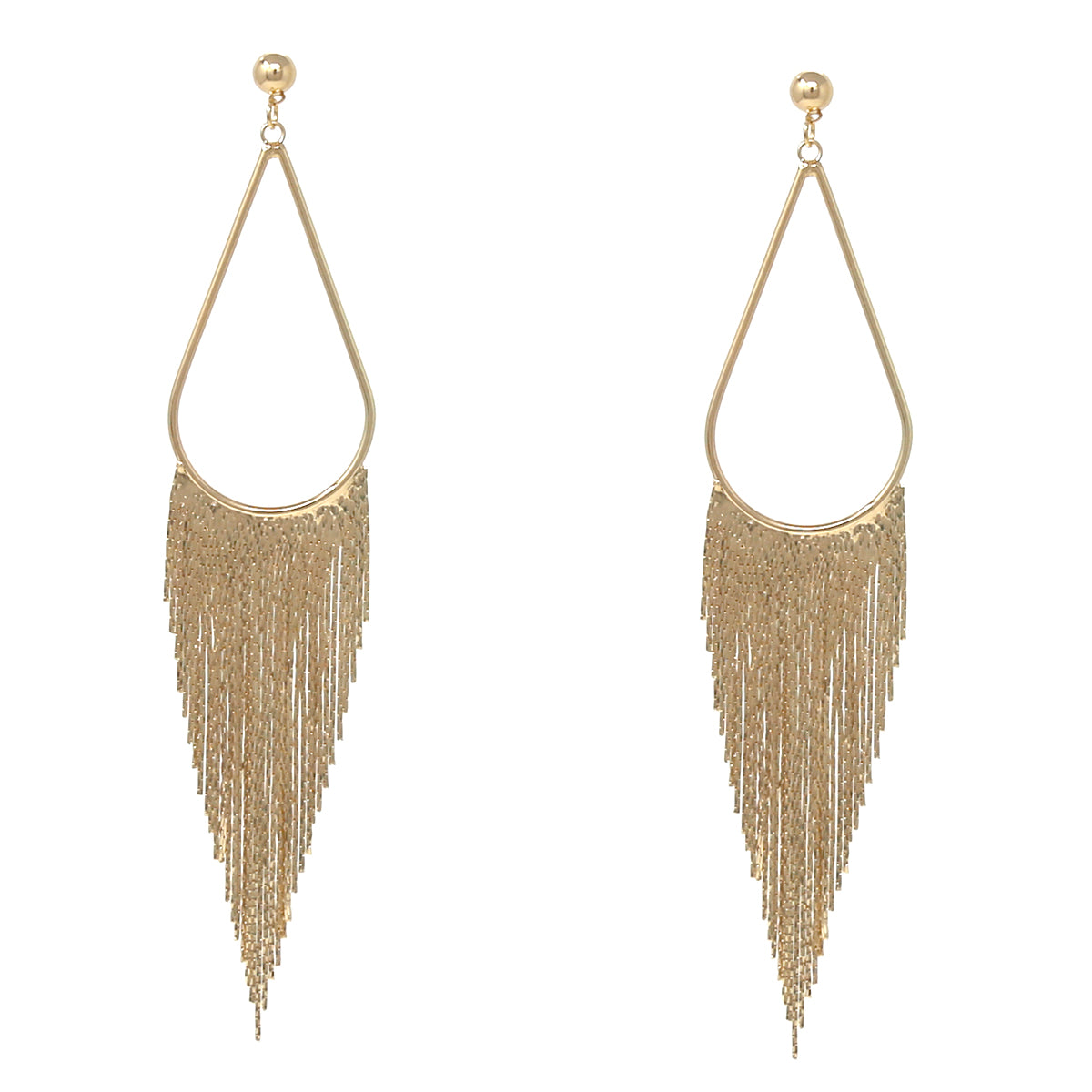 Teardrop Hoop Snake Chain Fringe Drop Earrings