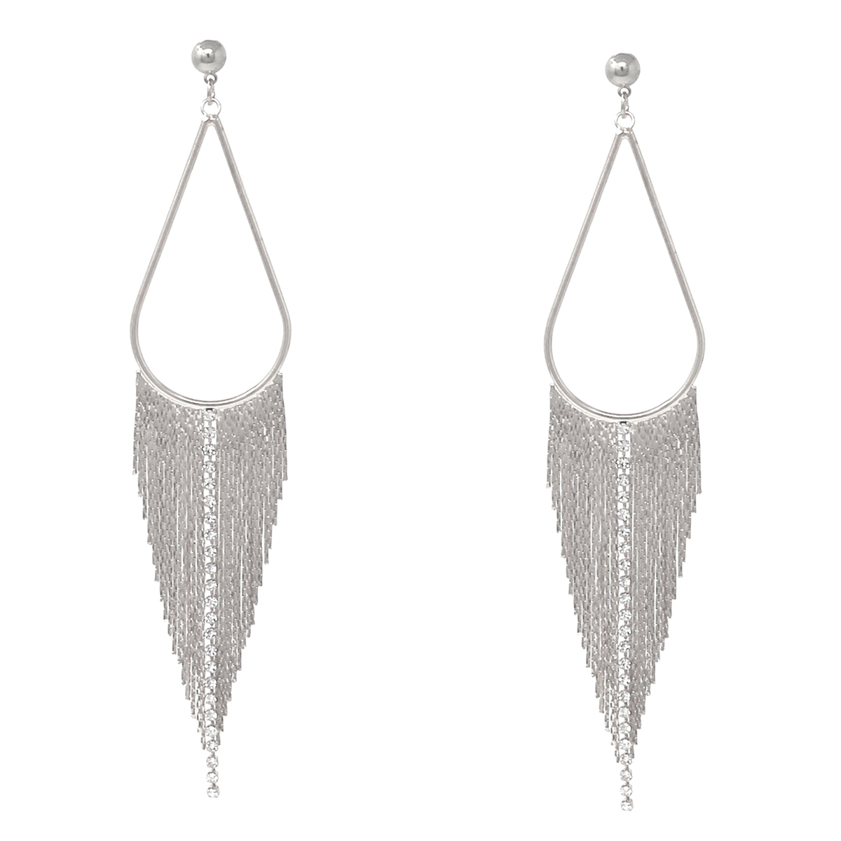 Teardrop Hoop Rhinestone/ Chain Fringe Drop Earrings