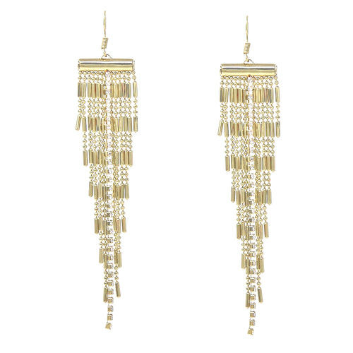 Rhinestone Pave Chain Tube Ball Chain Fringe Drop Earrings