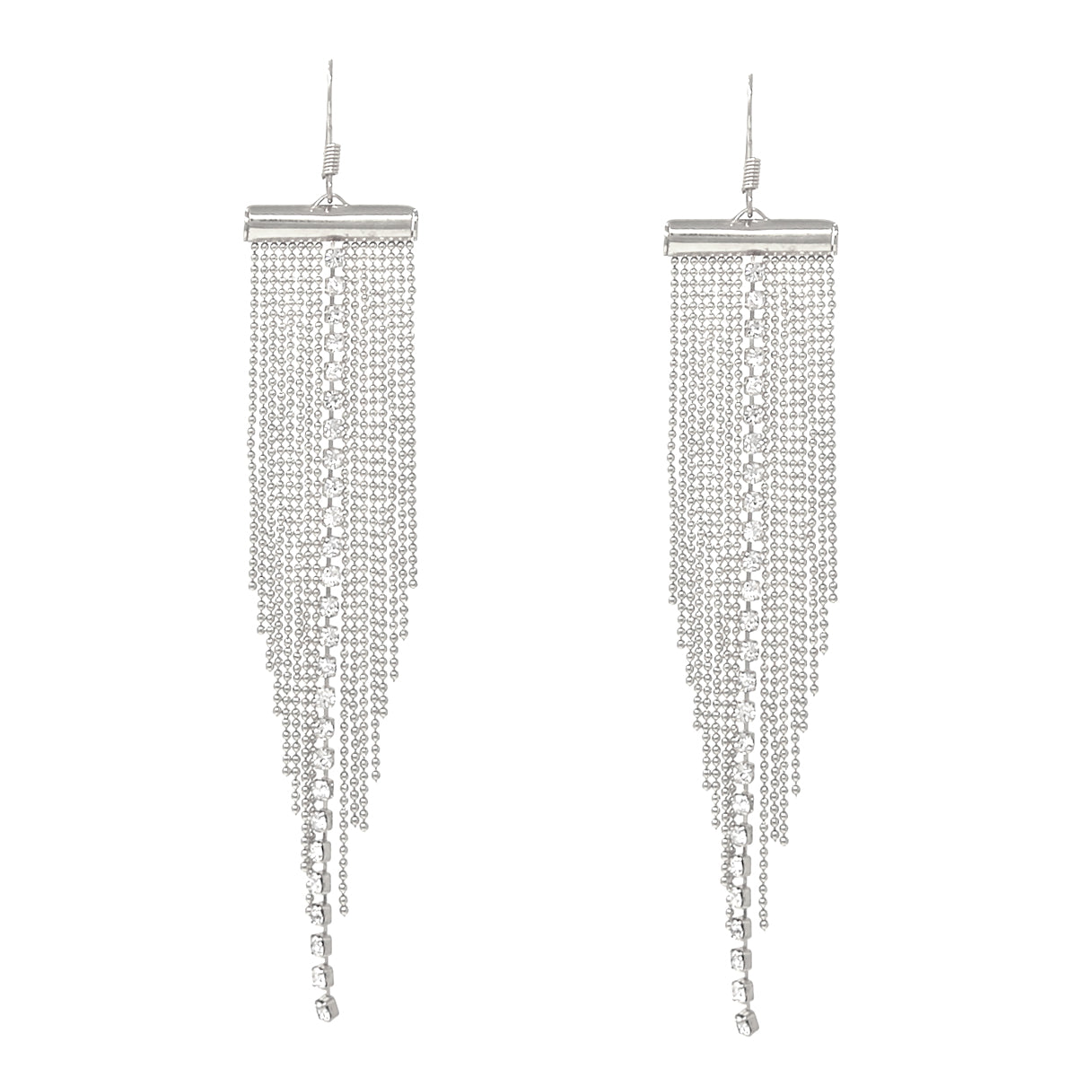 Rhinestone Chain Tiny Ball Chain Fringe Drop Earrings