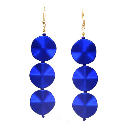 Matte Color Finished Petal linear Drop Earrings