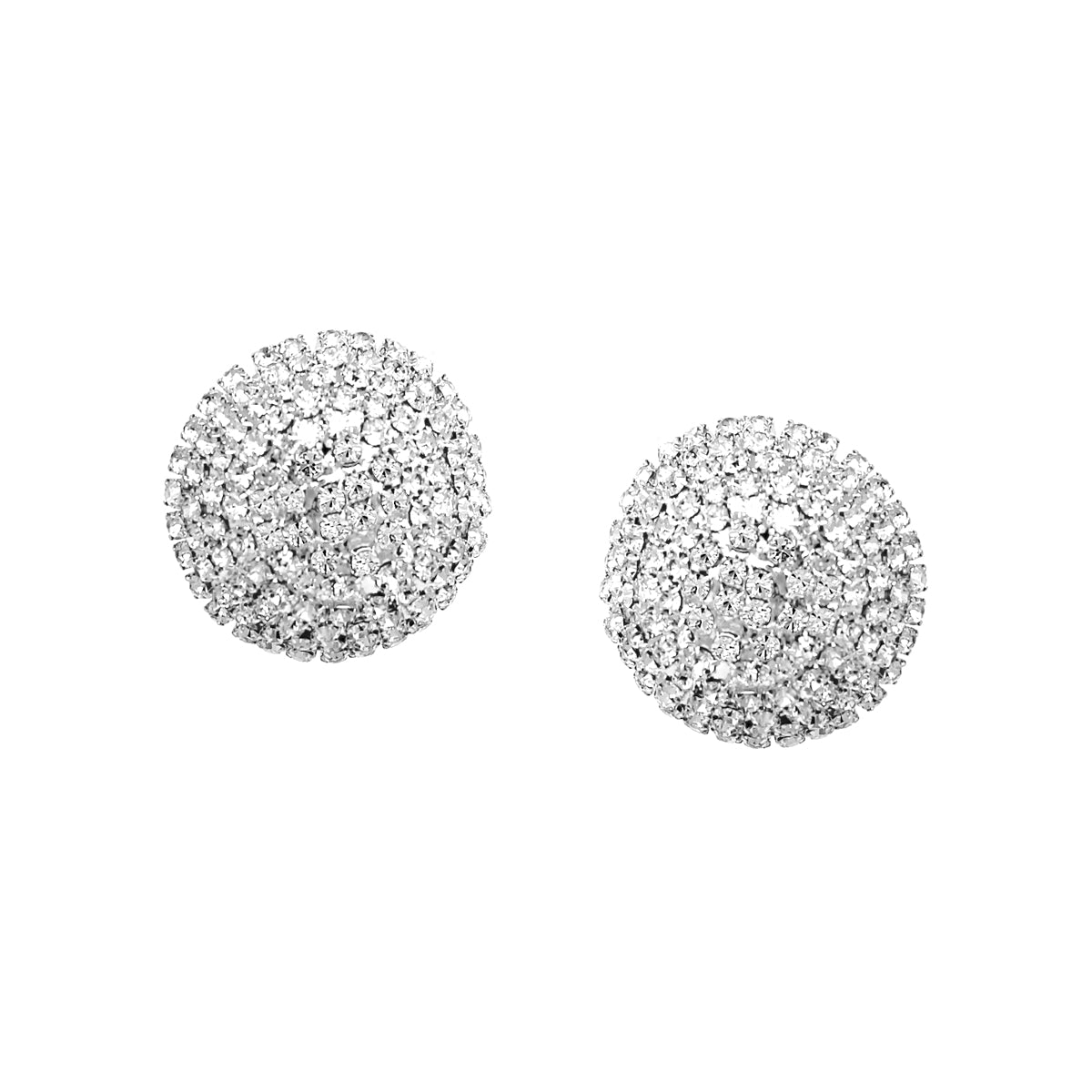 Rhinestone Pave Dome Shape Stud Earrings