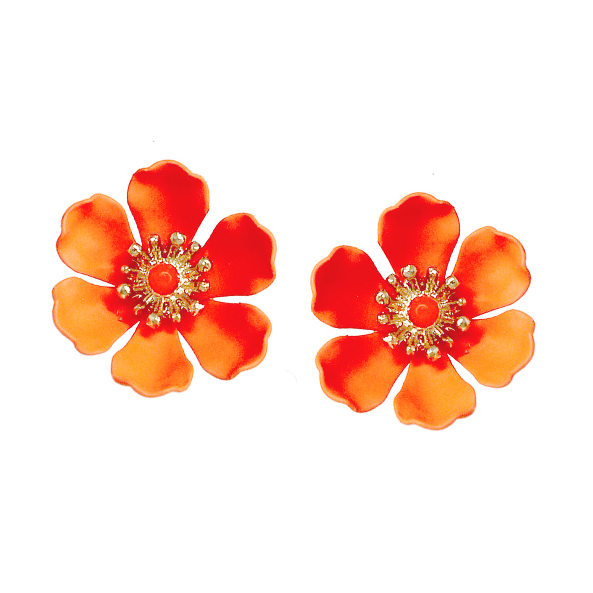 Color Coated Flower Stud Earrings