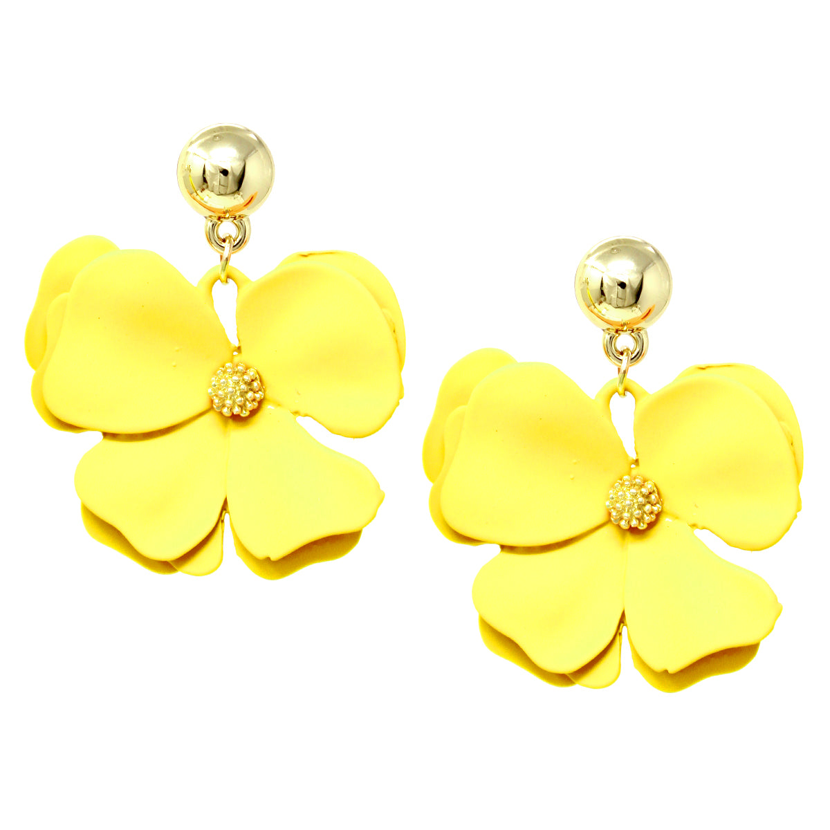 Color Coated Metal Flower Drop Earrings
