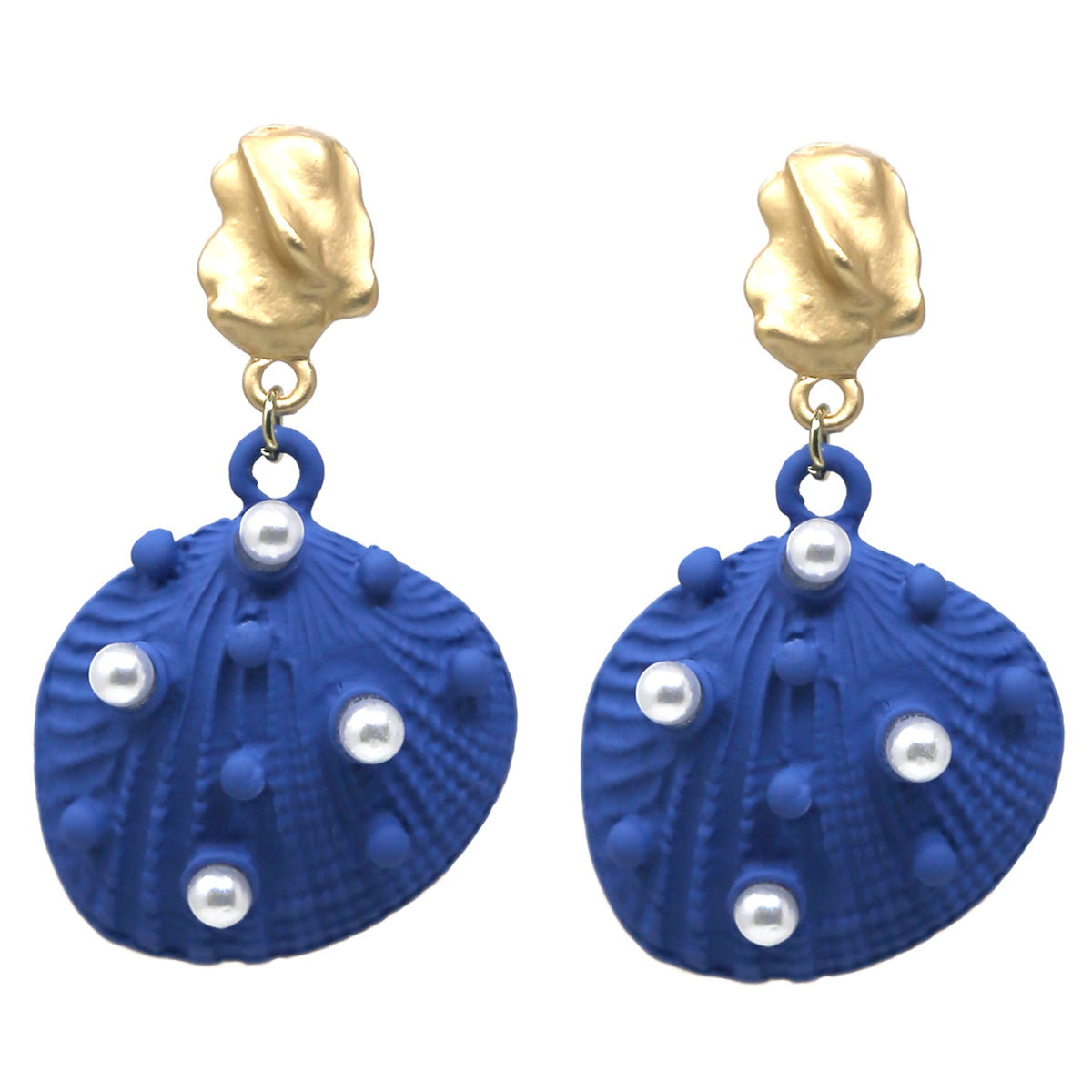Pearl Bead Pave Color Coated Shell Drop Earrings
