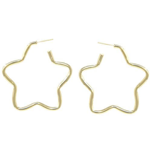 Rounded Metal Star Shape Hoop Earrings