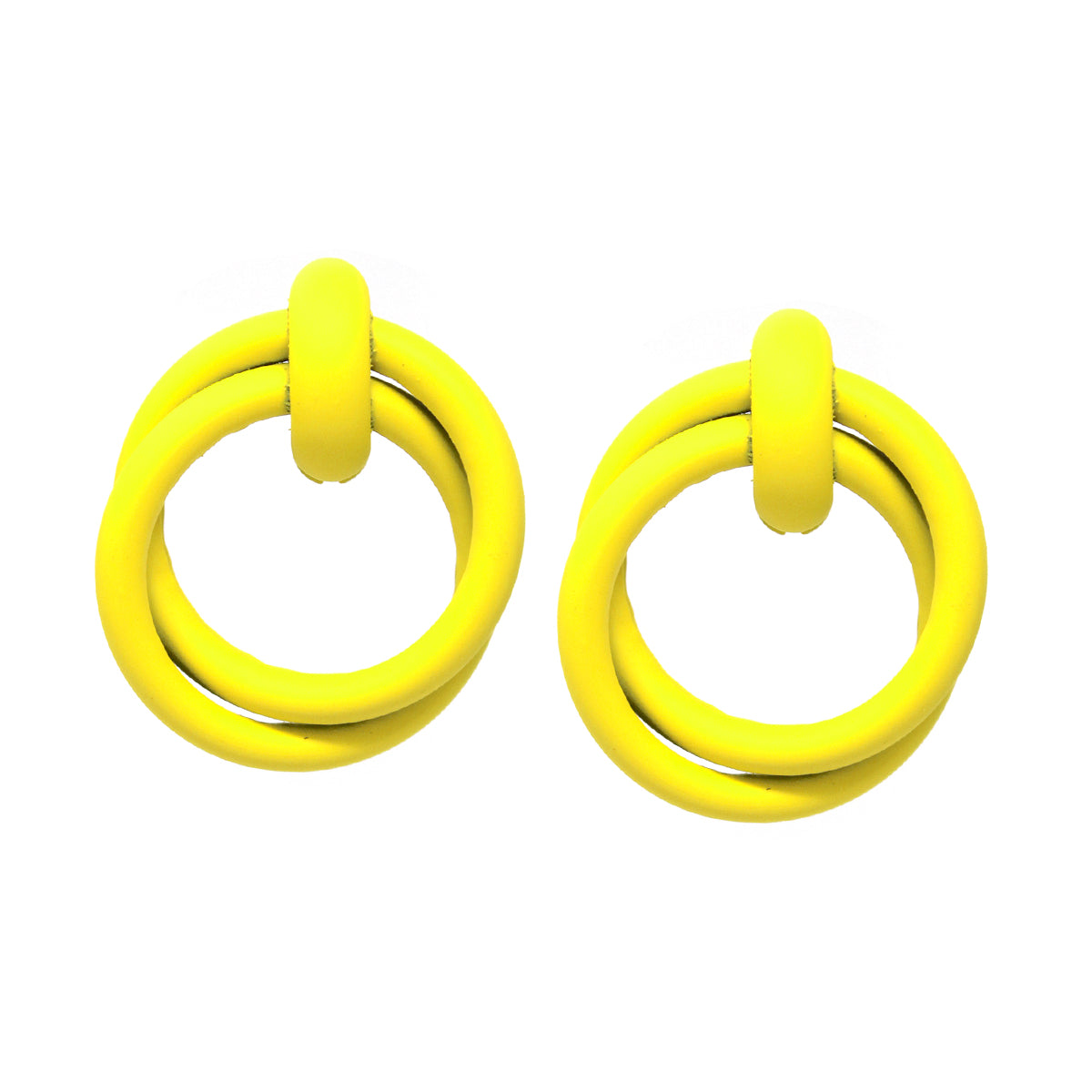 Color Coated Metal Hoop Double Layered Earrings (Large)
