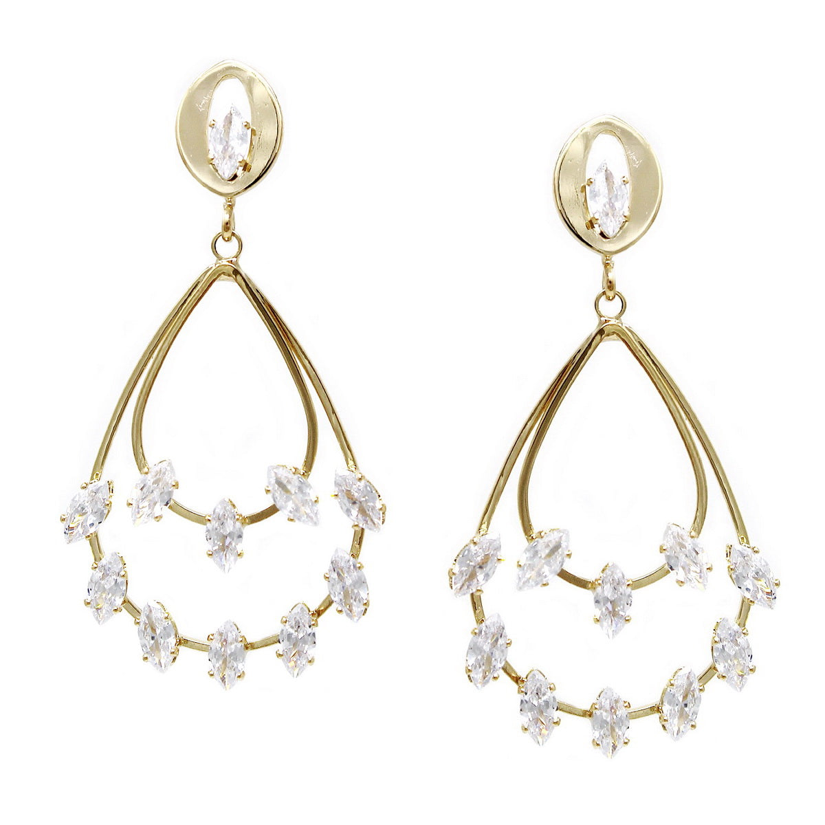 Cubic Zirconia Embellished Double Teardrop Earrings