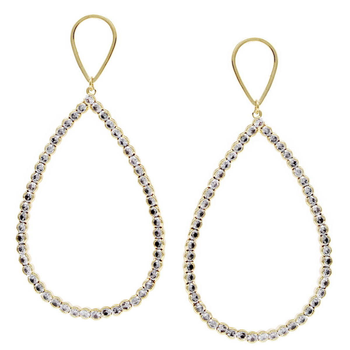 Cubic Zirconia Pave Teardrop Statement Earrings
