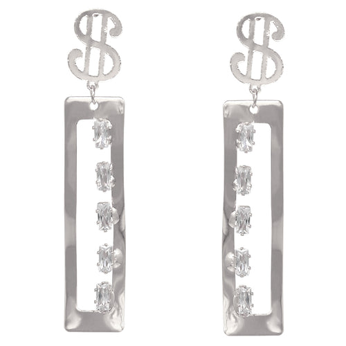 $ Sign CZ Pave Rectangle Metal Drop Earrings