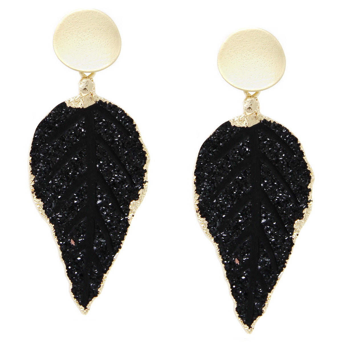 Synthetic Druzy Leaf Drop Earrings