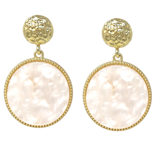 Hammered Disc Flat Circle Pearl Drop Earrings