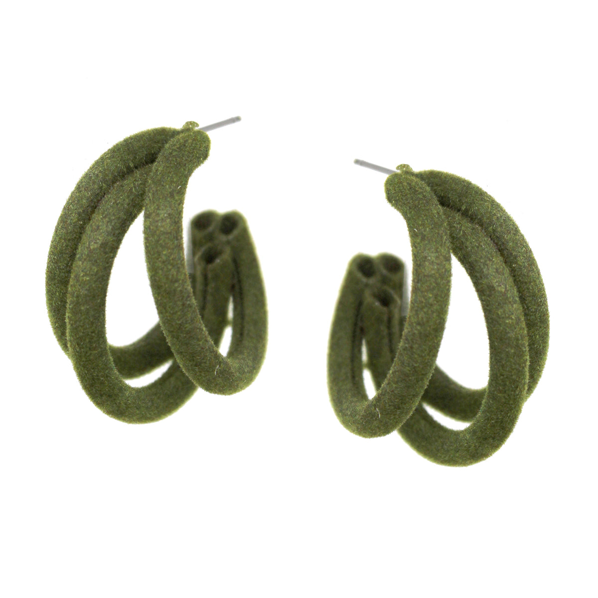 Olive Teardrop Fabric Covered Button Earrings