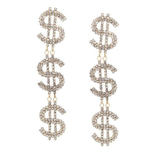 $ Dollar Sign Rhinestone Pave Linear Drop Statement Earrings