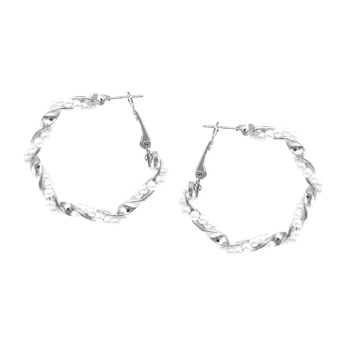 Pearl Bead Twisted Hoop Earrings (40 mm)