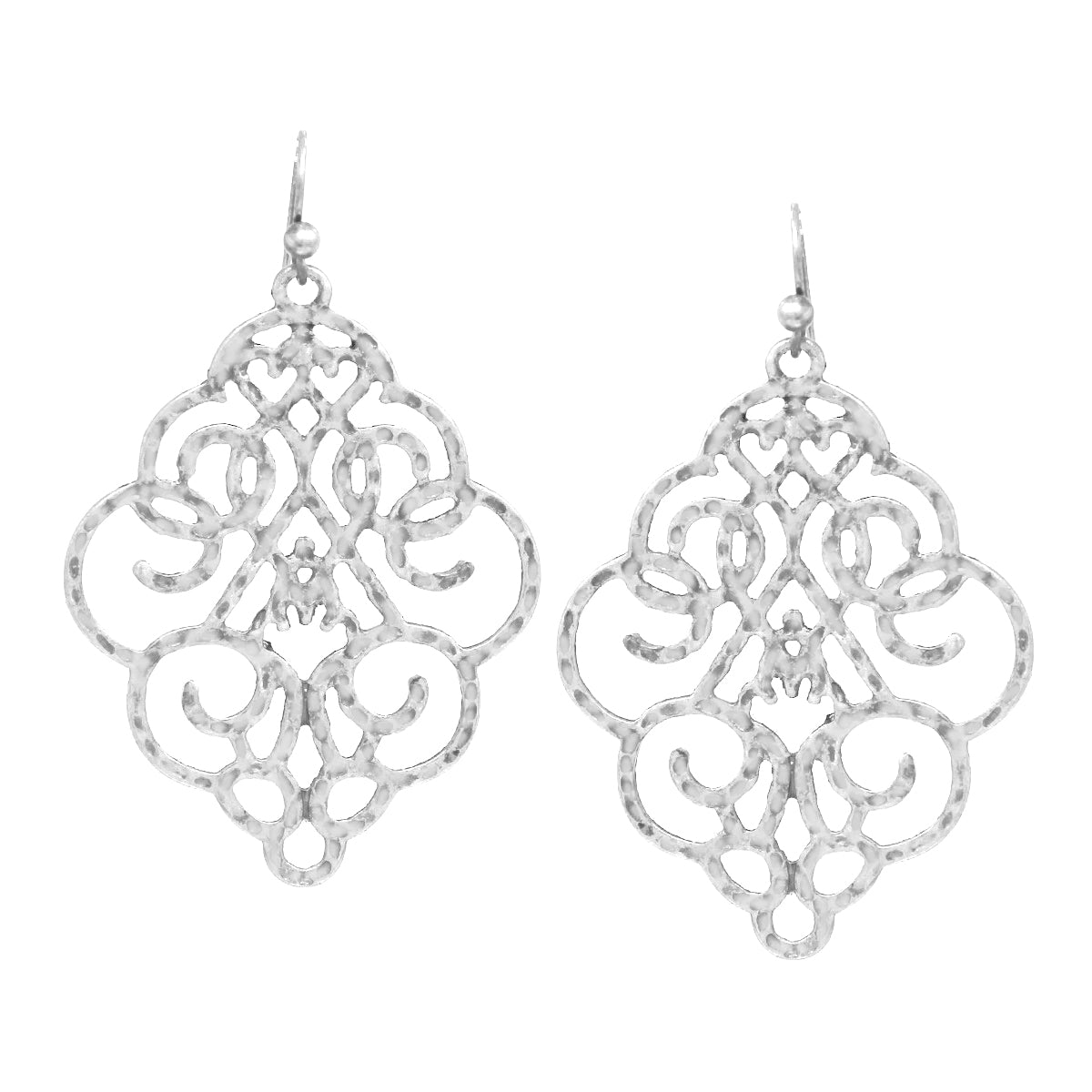 Textured Metal Filigree Drop Earrings