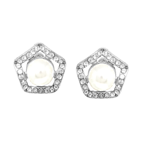 Rhinestone Pave Pearl Floral Stud Earrings